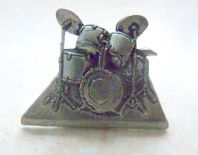 Contemporary Pewter Drum Kit Brooch By Pageant.